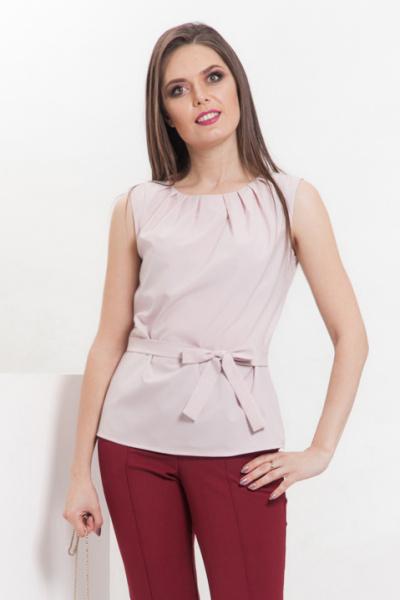 Блуза пудровая с эффектными защипами, Б-220